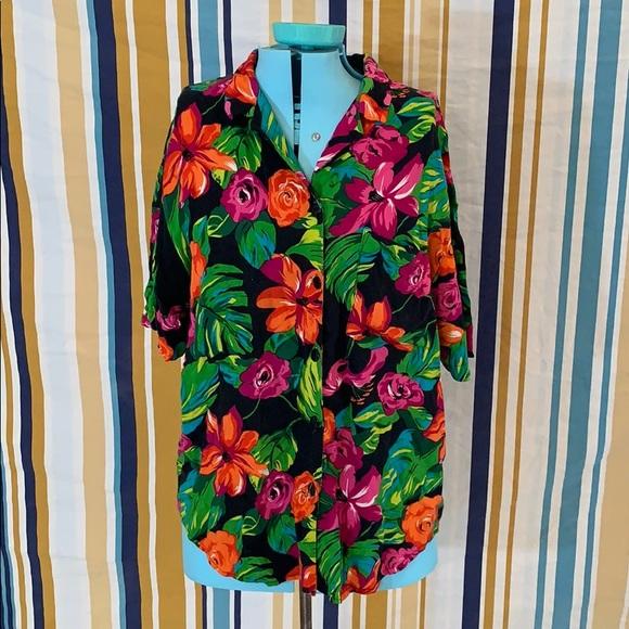 Vintage 1980/'s Floral Button Down Blouse Size Medium